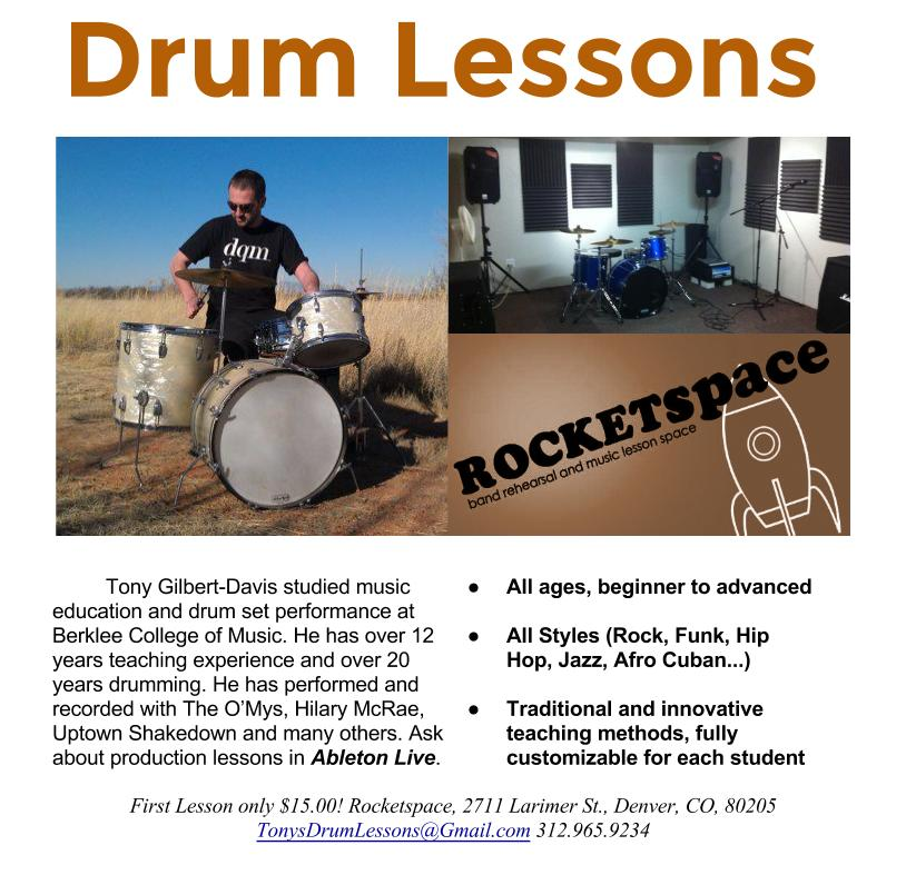 Online Rocketspace Drum Lesson Flyer